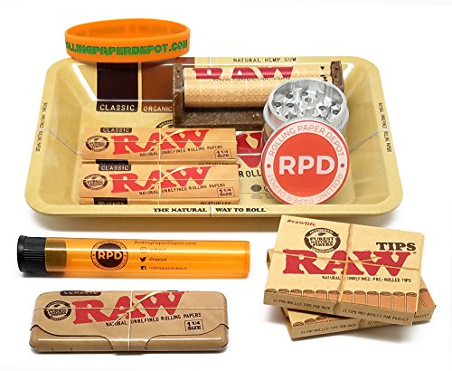 Bundle - 10 Items - RAW Rolling Paper, Pre-Rolled Tips, Paper Case, Mini Rolling Tray and Roller with RPD Grinder, Kewl Tube and Bracelet