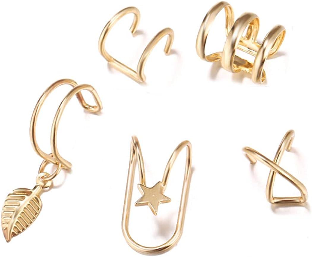 Zoestar Ear Cuff Set Simple Ear Cartilage Clip Earring Star with Leaf Non Piercing Ear Jewelry for Women