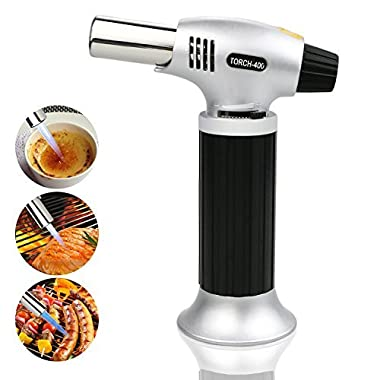 TedGem Culinary Torch, Professional Blow Torch Lighter Chef Cooking Torch Food Torch Butane Torch Refillable Adjustable Flame Lighter for Creme Brulee, DIY, BBQ & Baking Butane, Gas Not Included