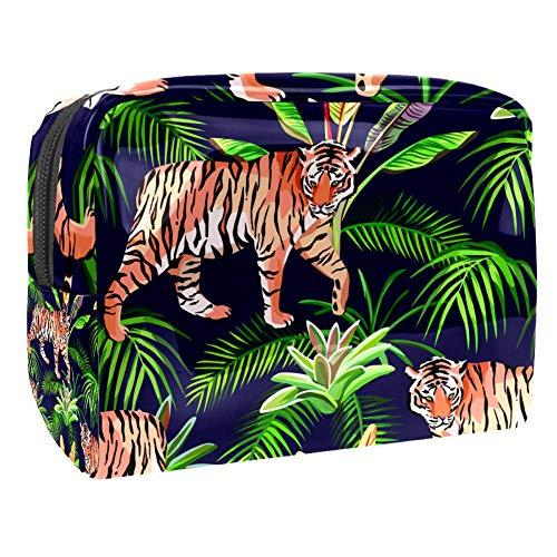 TIZORAX Kosmetiktasche mit Tigern und Pflanzen, PVC, Make-up-Tasche, Reise-Toilettenartikel, praktischer Beutel, Organizer für Frauen