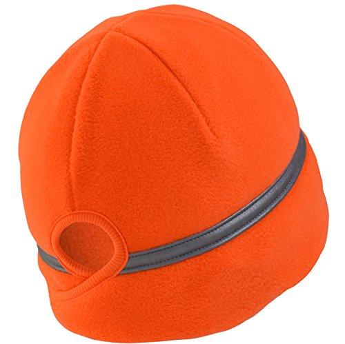 TrailHeads Women's Ponytail Hat - Reflective Cold Weather Running Beanie - Hunter Orange