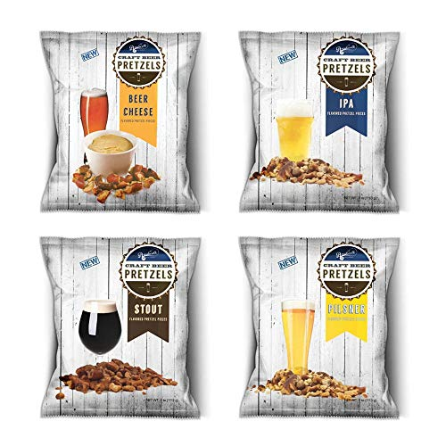 BOARDWALK FOOD COMPANY Craft Beer Pretzel Variety Pack   1 IPA, 1 Pilsner, 2 Stout and 2 Beer Cheese   4 oz. Bags   6 Pack