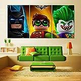WKHRD Pintura de Dibujos Animados The Lego Batman Movie Poster Canvas Art Wall Picture para decoración de habitación de niños Wall Art Canvas Painting   40x60cmx3-Sin Marco