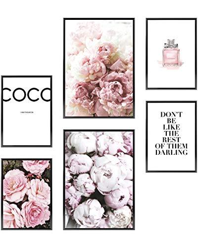 Heimlich® Premium Poster Set | OHNE Bilderrahmen | Stilvolles Set mit passenden Bilder als Wohnzimmer Deko | 2 x DIN A3 & 4 x DIN A4 - ca. 30x42 & 21x30 | » Coco «