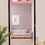 Vorhang,Wanshop Gardinen Set Fenstersiebung Voile Schlaufenschal Tüll Fenster Vorhang Garn mit Metallringen für Schlafzimmer und Wohnzimmer (Rosa)