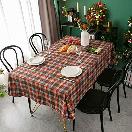 Mantel de Navidad con diseño de rosas de Orgullosa rosa para el Año Nuevo de la Navidad retro a cuadros, tela de lino y algodón nórdico, para el hogar