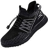 DYKHMILY Zapatillas de Seguridad Hombre Impermeable Zapatos de Seguridad con Punta de Acero Ligeras Transpirable Botas de Seguridad (Negro Relámpago,44 EU)