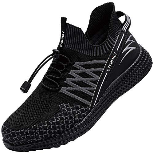 DYKHMILY Arbeitsschuhe Herren Wasserdicht Stahlkappe Sportlich Arbeitsschuhe Leicht Atmungsaktiv rutschfest Anti-Piercing Sneaker (Schwarz Blitz,44 EU)