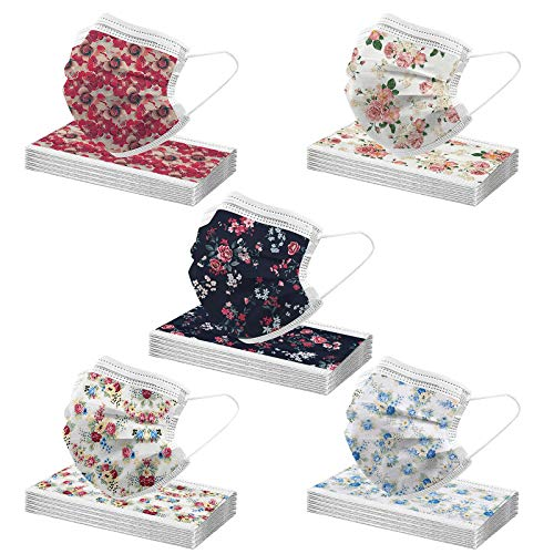 50PCS Flower Print Disposable Face_Mask for Coronàvịrụs Protectịon, Womens Men Bandanas Face Covering, Anti-Dust 3Ply Face_Masks for Home Outdoor Cycling and Running