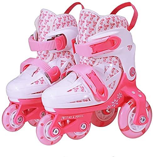 LCNING Roller Roller Skates Enfants Filles, Toddler Tridler Ajustable pour Enfants Boys Bottes Roller Chaussures pour 2 6 Ans, Pink1 XS (24~28) pour Les Femmes et Les Hommes