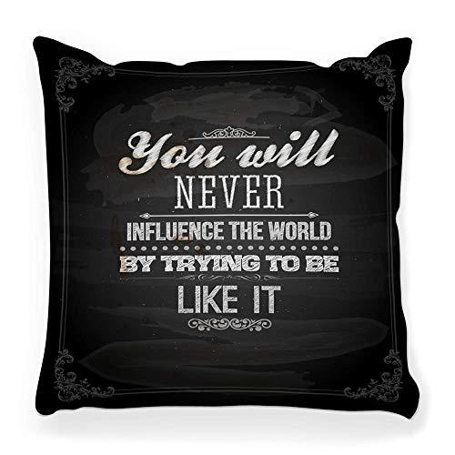 REAlCOOL Funda de almohada cuadrada suave de 45,7 x 45,7 cm con cita tipografía, inspira pizarra, tiza, fuente de vida, póster de amor, frase tipo pizarra