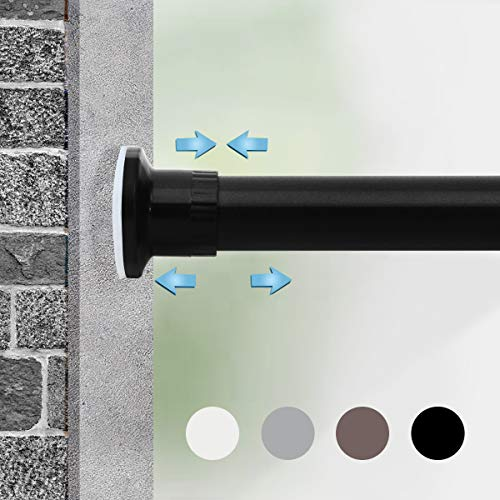 Moyeno Shower Curtain Rod Tension Rod Adjustable, No Drill Window Curtain Rod, Tension Curtain Rod Expandable Room Divider Blackout, Extra Long for Outdoor, Living Room - Black - 43-83 Inches
