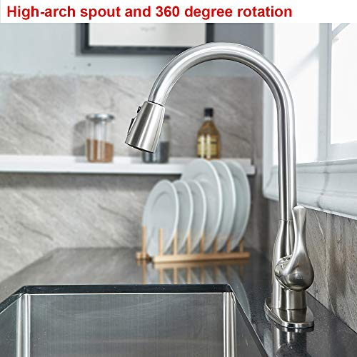 VALISY Lead-Free Modern Stainless Steel Brushed Nickel Pull Down Kitchen Sink Faucet, Single Handle 1 or 3 Hole High Arc Kitchen Faucets with Pulldown Sprayer & Deck Plate