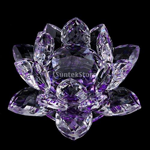 FLAMEER Teelichthalter Glas Blumen Lotus Teelichtgläser Kerzenhalter Kerzenständer Tischdeko - Lila