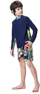 ملابس سباحة للأولاد 2 قطعة راش جارد بدلة سباحة بأكمام طويلة بمجموعات من 5-14 سنة