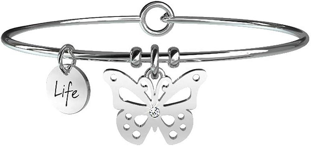 Kidult,bangle per donna, in acciaio 316 l, con ciondolo a forma di farfalla. 231591