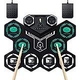 Batería Electrónica Portátil Tambor E-Drum Enrollable a Mano con 9 Almohadillas de Silicona Sensibles,Tambores Recargables, Altavoz Estéreo Incorporado Bluetooth, MIDI, para Niños Principiantes