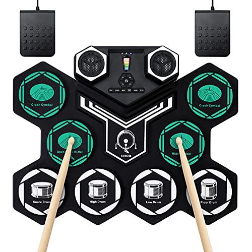 Batería Electrónica Portátil Tambor E-Drum Enrollable a Mano con 9 Almohadillas de Silicona...
