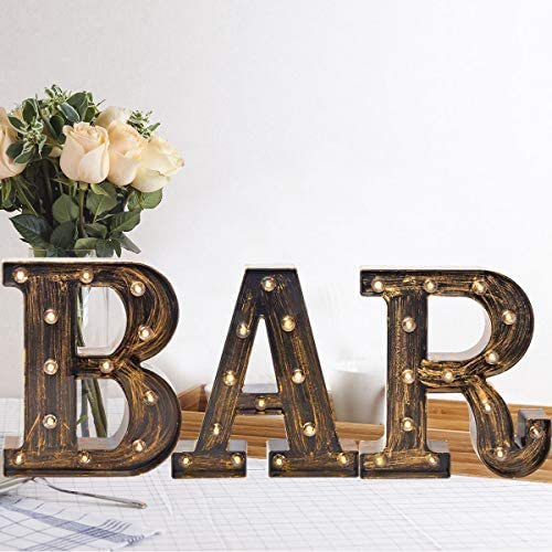 Light Up BAR Sign LED Vintage Letters Home Decor Name Signs Illuminated Marquee Letter Sign product image