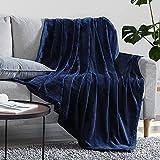 EHEYCIGA Fleece Blanket Queen Size Flannel Blanket Couch Navy Blue Queen 90x90 Inches Microfiber Soft Cozy Lightweight Luxury Bed Blanket