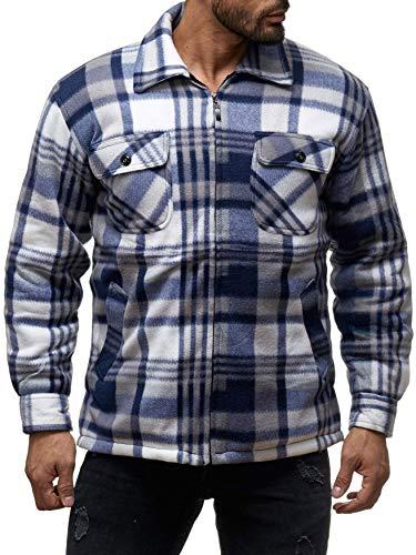 ArizonaShopping Herren Thermohemd Jacke Holzfäller Kariert, Größe Jacken:XXXL, Farben:Grau-Weiß