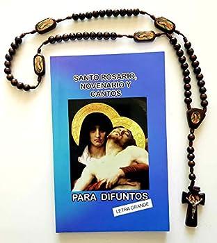 Santo Rosario Novenario y Cantos Para Difuntos  136 paginas  y Rosario de Madera de La Virgen de Guadalupe