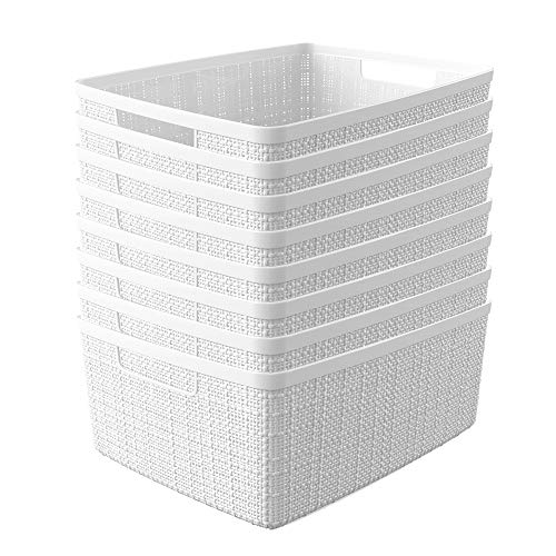 Curver Set of 8 Jute Small Decorative Plastic Organization and Storage Basket Perfect Bins for Home Office, Closet Shelves, Kitchen Pantry and All Bedroom Essentials, White