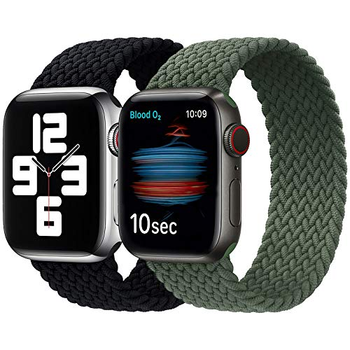 Girovo 2 Packs Solo Loop Strap Compatible with Braided Sport Apple Watch Band 38mm 40mm, Soft Stretchy Braided Wristband for iwatch Series 1/2/3/4/5/6/SE, Charcoal & Green, M
