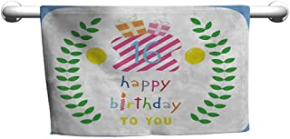 duommhome 16th Birthday Beach Activity Bath Towel Cute Celebration with Balloons Olive Branches Presents Cartoon Style Print W14 x L14 Multicolor