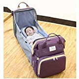 Portable Foldable Crib Diaper Bag Backpack, Waterproof Travel Bassinet Foldable Baby Bed, with Changing Station for Travel Bed Diaper Pad Stroller Organizer (Purple)
