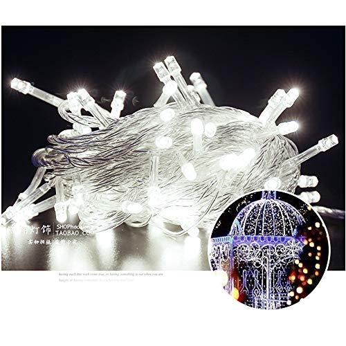 32.8Ft 100 LED Árbol de Navidad Luces de cuerda decorativas Luces de decoración Luces de cadena enchufables Parque extensible Jardín Patio Dormitorio Luz de decoración (Blanco frío)