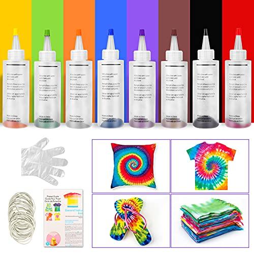 Sinwind Tie Dye Kit, 8 Farbe Batikfarben Set Stoff Textil Farben Tie-Dye Kit Vibrant Stoff Textil Farben Jeweils 120ml mit 40 Stück Gummi Band für DIY Projekte und Partyaktivitäten