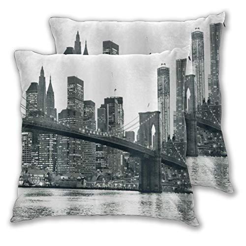 ALLMILL Federe Cuscino 50x50cm,2 Pezzi Tramonto Moderno del Ponte di Brooklyn con L'Immagine della Famosa Città Americana di Manhattan New York Decorativo per Auto Sofà Divano Ufficio Salotto Home