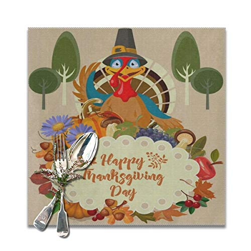 Thanksgiving Turkey Fruit Vegetables Leaves Flowers Placemats for Dining Table Set of 6 Heat Resistant Table Mat Washable Non Slip Large Fabric Coffee Kitchen Square Plate Mat Personalized Decorative