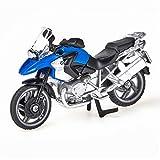 siku 1047, BWM R1200 GS Motorrad, Metall/Kunststoff, blau/silber, Klappbarer Ständer, Lenkbares Vorderrad -