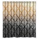 Mexican Muster Gold & Schwarze Sand Bild Entwarf Besonders Polyester Gewebe Benutzerdefinierten Duschvorhang , 66