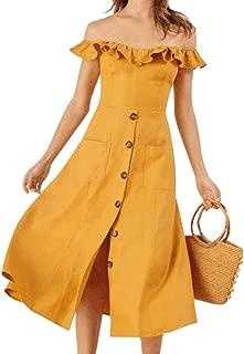 Qiyun Summer Fashion Elegant Ruffle Boat Neck Collar Front Breasted Dress for Women Girl