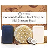 O Naturals Dry Body Brush with African Black Soap & Coconut Shea Bar Soap Gift Set. At Home Spa Gift Set, Dry Brush Deep Massage Bar Soaps with Essential Oils Best Gift for Her 5 oz Each Bar
