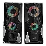 Woxter Big Bass 80 FX - Altavoces estéreo 2.0, Elegantes, con Leds ambientales, Rejilla metálica, 15W de Potencia, conexión USB y estéreo de 3,5mm. Ideal para PC/Smartphones y videoconsolas.