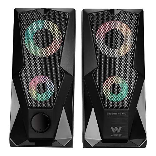 Woxter Big Bass 80 FX - Altavoces estéreo (leds ambientales, rejilla metálica,...