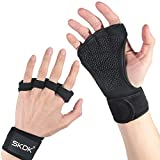 SKDK Weight Lifting Gym Gloves Breathable Full Palm Protection Workout Gloves Wrist Wrap Support for Fitness, Cross Training, Fitness, Hanging, Pull ups, Powerlifting. Men & Women (Black 51, XL)
