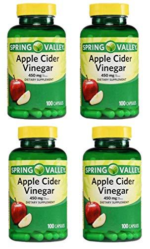 4 Pack Spring Valley Apple Cider Vinegar Dietary Supplement Capsules 450mg 100 ct per Bottle