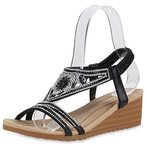 SCARPE VITA Damen Sandaletten Keilsandaletten Strass Keilabsatz Sandalen Leder-Optik Schuhe Wedges Sommerschuhe 191879 Schwarz Glitzer 37