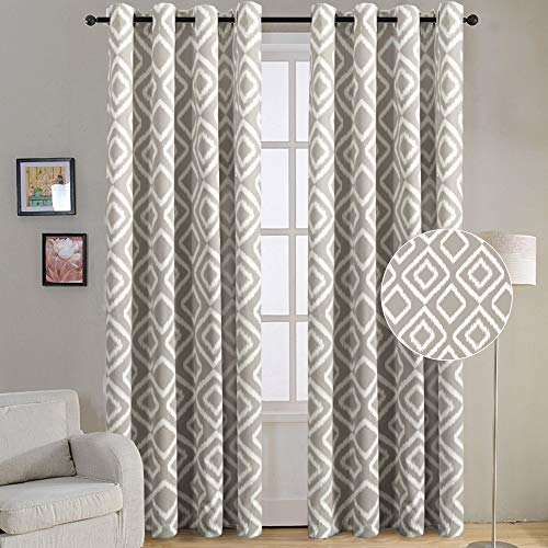 Flamingo P Blackout Curtains 96 inch for Living Room, Ikat Fret Home Decorative Grommet Top Curtain Set, Thermal Insulated Noise Reducing Window Treatment (W52 x L96 inch, Taupe, 2 Panel