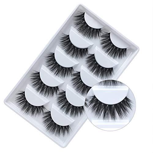 False Eyelashes, 3D Faux Mink Fake Eyelashes Handmade Dramatic Thick Crossed Cluster False Eyelashes Black Nature Fluffy Long Soft Reusable(5 Pairs)