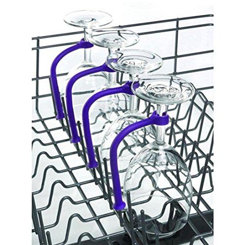 Kanzd 4Pcs Wine Glass Dishwasher Goblet Holder Adjust Silicone Attachment Safer Stemware Saver (Purple)