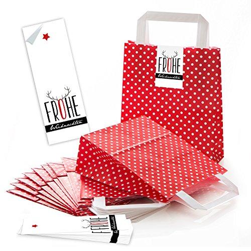 25 rot weiß gepunktete Papiertüte Weihnachtstüten Boden 18 x 8 x 22 cm kleine Papiertasche + Weihnachts-Aufkleber FROHE WEIHNACHTEN schwarz rot grau Rentier-Geweih Verpackung Geschenk