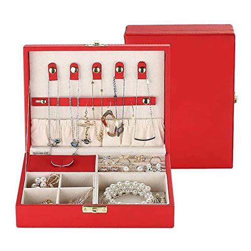 NFRADFM Caja de joyería,Caja de joyería de cuero de alta capacidad,Pendientes grandes espaciales caja de almacenamiento ornamental,Regalos multifunción para mujer