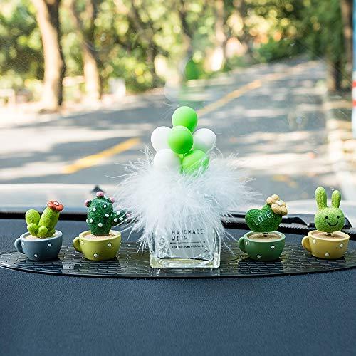RAP Car creatieve kleine frisse cactussen pot schudden hoofd pop decoratie auto middenconsole decoratieve plant decoratie vrouwelijke mok potplant groene en witte ballonnen [haarfles] [gefotografeerd, om lange anti-slip mat te verzenden]