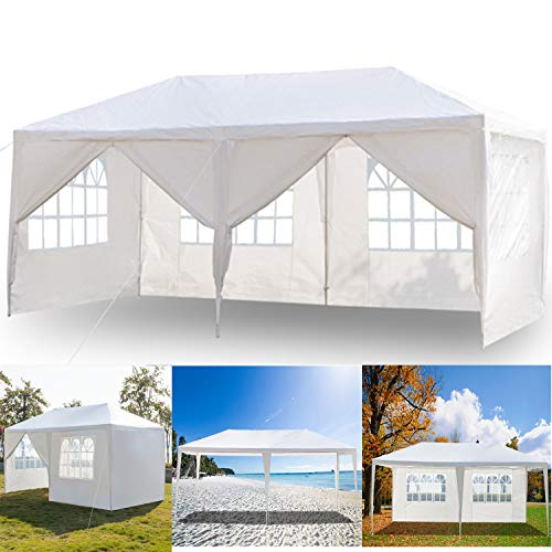 3 x 6m Canopy Tent with 6 Removable Window Side Walls, Portable Instant Commercial Gazebo Tent Outdoor Party Tent Garden Heavy Duty Gazebo Event Shelter with Spiral Tubes for Wedding Beach Picnic